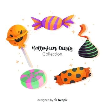 Collezione di caramelle di halloween ad acquerello