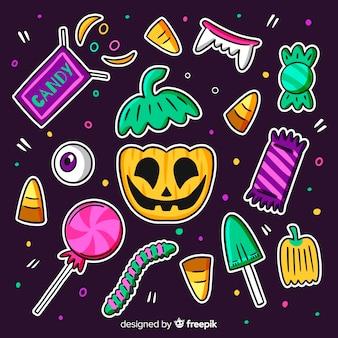 Collezione di caramelle di halloween carino disegnato a mano