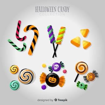 Collezione di caramelle di halloween con un design realistico