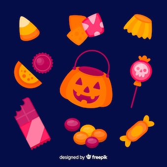 Collezione di caramelle di halloween design piatto