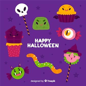 Collezione di caramelle di halloween disegnata a mano
