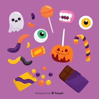 Collezione di caramelle di halloween piatta
