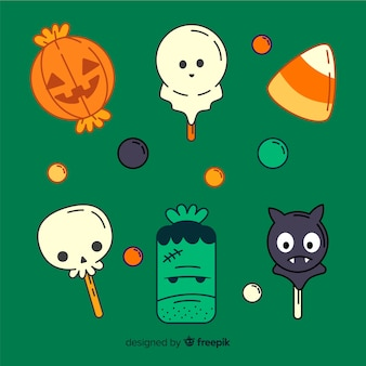 Collezione di caramelle piatto minimalista di halloween