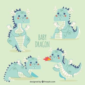Collezione di caratteri del drago bambino disegnato a mano