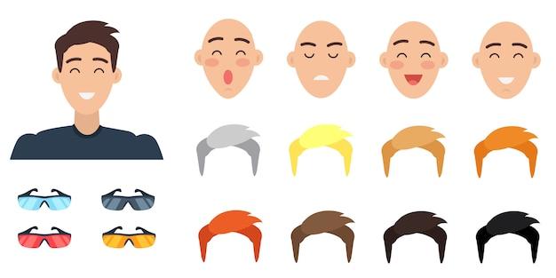 Collezione di caratteri di emozioni. set di facce maschili