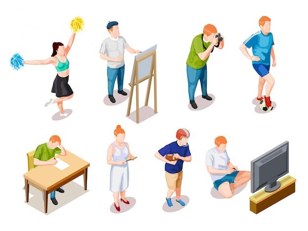 Collezione di caratteri di hobby degli adolescenti