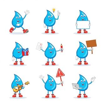 Collezione di caratteri mascotte dei cartoni animati dell'acqua