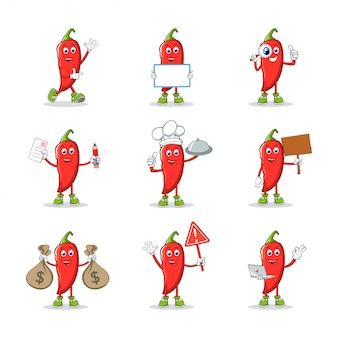 Collezione di caratteri mascotte dei cartoni animati di peperoncino rosso