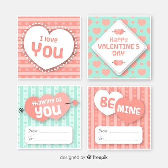 Collezione di carte a strisce di san valentino