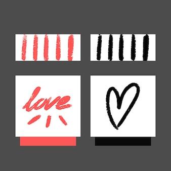 Collezione di carte amore grunge
