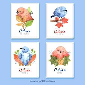 Collezione di carte autunnali con uccelli