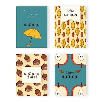 Collezione di carte autunnali disegnate a mano