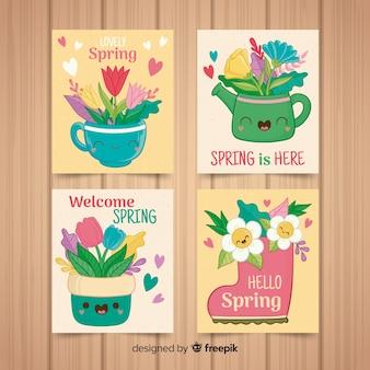 Collezione di carte carino primavera