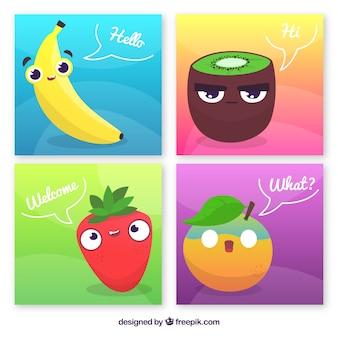 Collezione di carte con cartoni animati di frutta