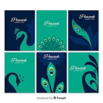 Collezione di carte con disegni di pavoni