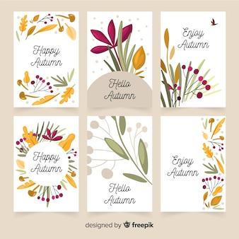 Collezione di carte d'autunno design piatto