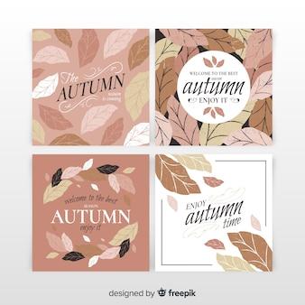 Collezione di carte d'autunno stile vintage