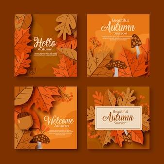 Collezione di carte d'autunno vintage