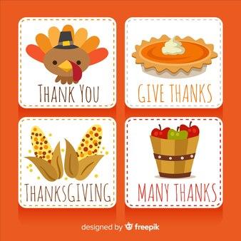 Collezione di carte del giorno del ringraziamento in design piatto