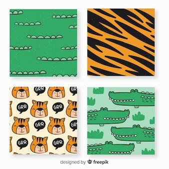 Collezione di carte di animali selvatici disegnati a mano