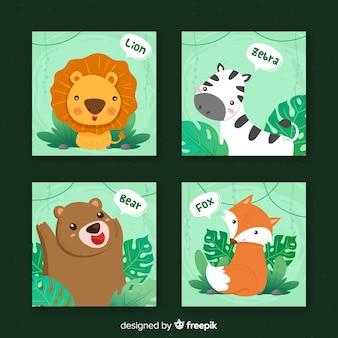 Collezione di carte di animali selvatici, stile cartoon