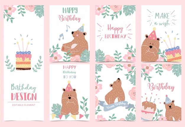 Collezione di carte di buon compleanno con orso, torta, foglie, fiori.