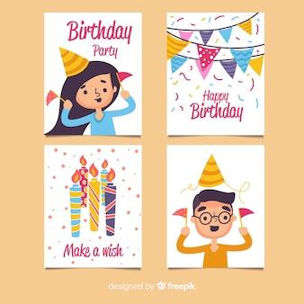 Collezione di carte di buon compleanno