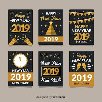 Collezione di carte di capodanno con stile dorato