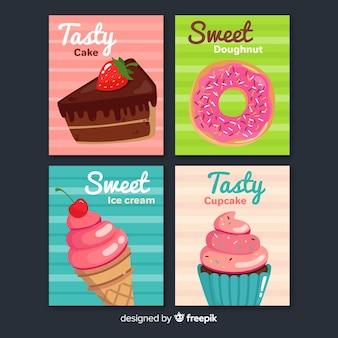 Collezione di carte di cibo dolce