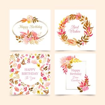 Collezione di carte di compleanno con collezione di fiori
