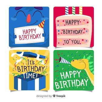 Collezione di carte di compleanno design piatto