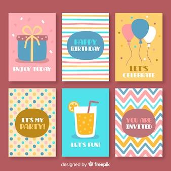 Collezione di carte di compleanno disegnata a mano