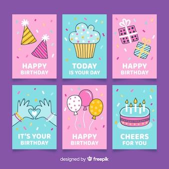 Collezione di carte di compleanno disegnati a mano