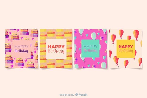 Collezione di carte di compleanno in stile acquerello