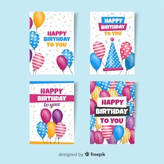 Collezione di carte di compleanno in stile piatto