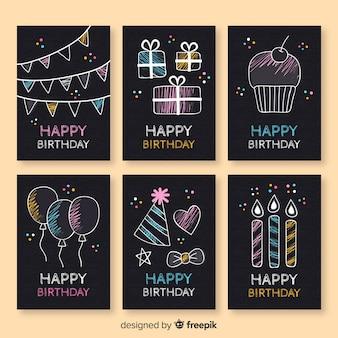 Collezione di carte di compleanno lavagna