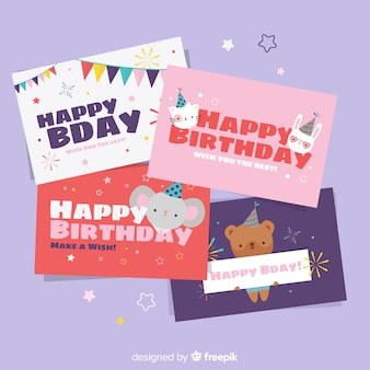 Collezione di carte di compleanno piatte