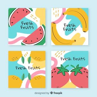 Collezione di carte di frutta disegnate a mano