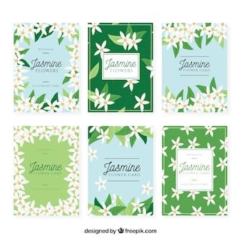 Collezione di carte di gelsomino con fiori bianchi