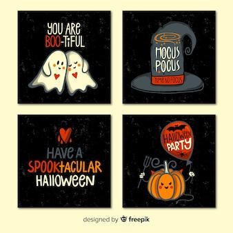 Collezione di carte di halloween con virgolette