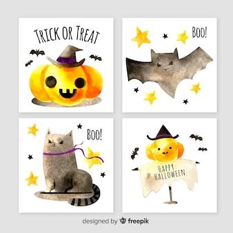 Collezione di carte di halloween dell'acquerello carino