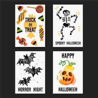Collezione di carte di halloween dell'acquerello