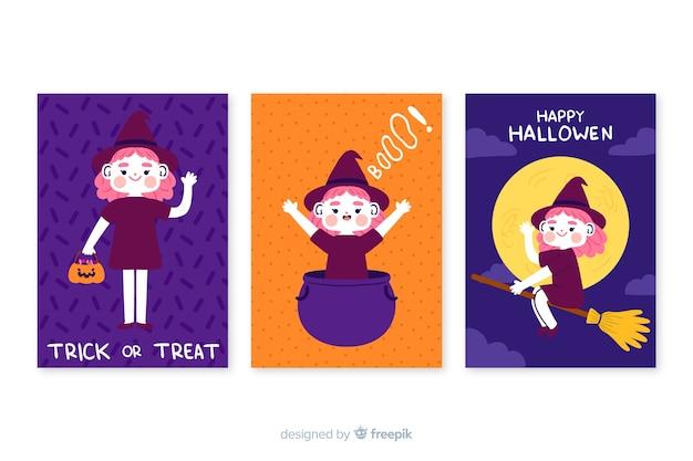 Collezione di carte di halloween disegnata a mano