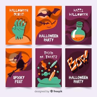 Collezione di carte di halloween piatto elementi stregoneria