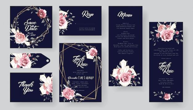 Collezione di carte di invito matrimonio floreale moderno