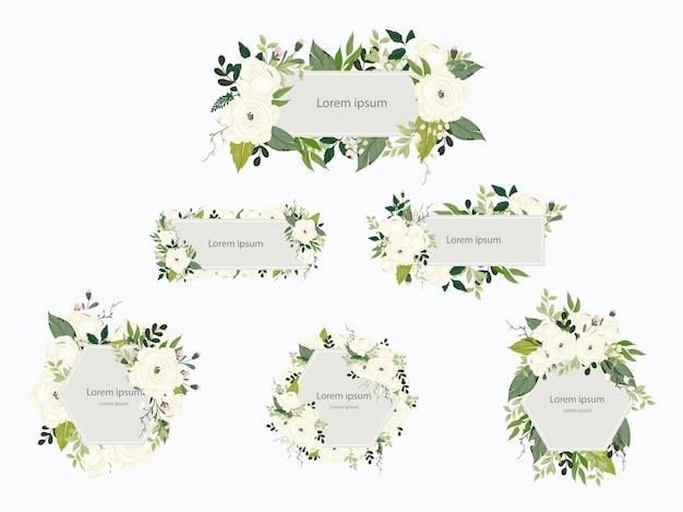 Collezione di carte di nozze floreale
