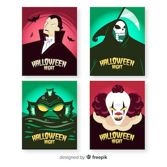 Collezione di carte di personaggi di halloween disegnati a mano