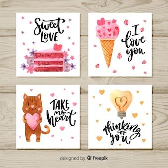 Collezione di carte di san valentino ad acquerello