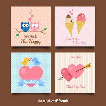 Collezione di carte di san valentino coppie