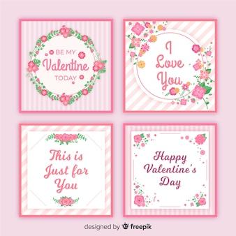 Collezione di carte di san valentino floreale piatta